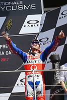 Danilo Petrucci of Italy and OCTO Pramac Racing third during the Moto GP Grand Prix at the Mugello race track on June 4, 2017 celebrates on the podium. <br /> MotoGP Italy Grand Prix 2017 at Autodromo del Mugello, Florence, Italy on 4th June 2017. <br /> Photo by Danilo D'Auria.<br /> <br /> Danilo D'Auria/UK Sports Pics Ltd/Alterphotos /NortePhoto.com
