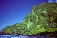 Remote valley, beach and rainforest on the north shore of Molokai.