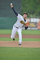 Burlington Bees starting pitcher Joe Gatto (33) throws during a game against the South Bend Cubs at Community Field on May 10, 2017 in Burlington, Iowa.  The Bees won 4-3 in 10 innings.  (Dennis Hubbard/Four Seam Images)