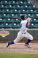Nick Madrigal (4) of the Winston-Salem Rayados follows through on his swing against the Potomac Nationals at BB&T Ballpark on August 12, 2018 in Winston-Salem, North Carolina. The Rayados defeated the Nationals 6-3. (Brian Westerholt/Four Seam Images)
