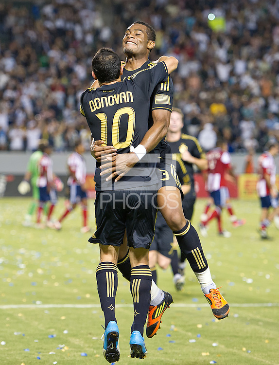CARSON, CA - July 21, 2012: LA Galaxy defender David Junior Lopes (3) and forward Landon Donovan (10) during the LA Galaxy vs Chivas USA match at the Home Depot Center in Carson, California. Final score LA Galaxy 3, Chivas USA 1.