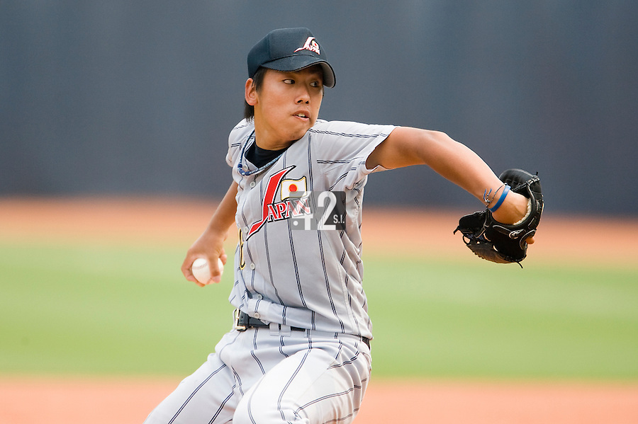19 August 2007: Pitcher #46 Yusuke Uemura pitches during the Japan 4-3 victory over France in the Good Luck Beijing International baseball tournament (olympic test event) at the Wukesong Baseball Field in Beijing, China.