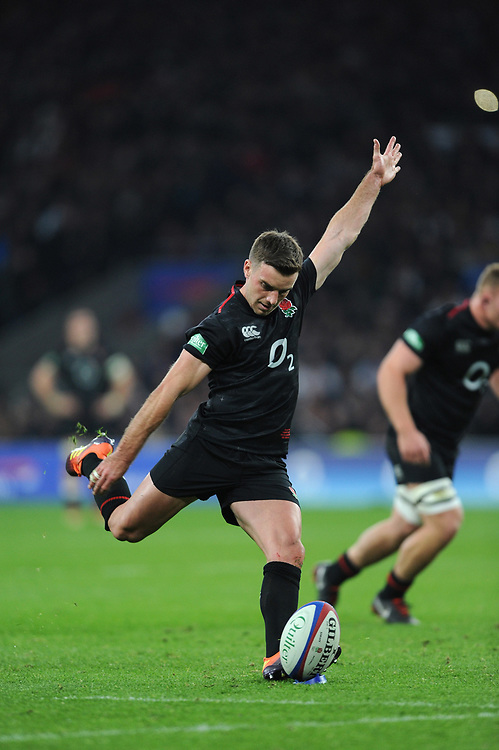George Ford (c) of England takes a conversion kick during the Quilter International match between England and Japan at Twickenham Stadium on Saturday 17th November 2018 (Photo by Rob Munro/Stewart Communications)