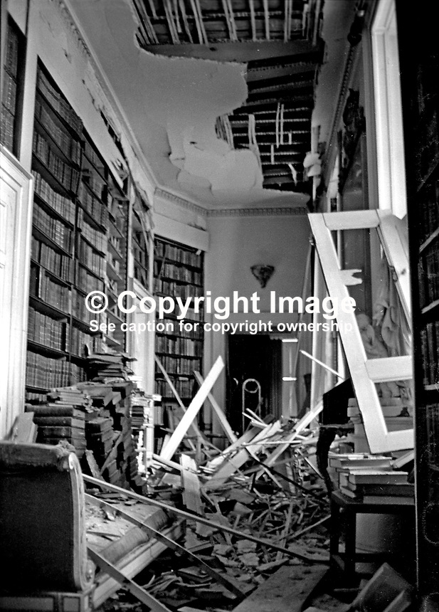 The badly damaged library following the Provisional IRA explosion at the home of the Earl of Caledon, Caledon, Co Tyrone, N Ireland, 10th November 1972. The Earl of Caledon is a member of the UDR, Ulster Defence Regiment. 197211100737b.<br />