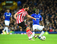 Lincoln City's Michael Bostwick clears under pressure from  Everton's Idrissa Gueye<br /> <br /> Photographer Andrew Vaughan/CameraSport<br /> <br /> Emirates FA Cup Third Round - Everton v Lincoln City - Saturday 5th January 2019 - Goodison Park - Liverpool<br />  <br /> World Copyright &copy; 2019 CameraSport. All rights reserved. 43 Linden Ave. Countesthorpe. Leicester. England. LE8 5PG - Tel: +44 (0) 116 277 4147 - admin@camerasport.com - www.camerasport.com