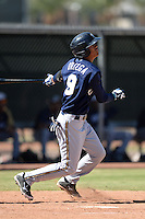 Milwaukee Brewers shortstop Angel Ortega (9) during an Instructional League game against the Los Angeles Angels on October 11, 2013 at Tempe Diablo Stadium Complex in Tempe, Arizona.  (Mike Janes/Four Seam Images)