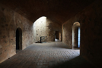 Inside the Fortaleza Ozama, or Ozama Fortress, a defensive castle built by the Spanish 1502-05 on the Ozama river, in Santo Domingo, capital of the Dominican Republic, in the Caribbean. The Torre del Homenaje or Tower of Homage is the tallest tower and served as a lookout. The fortress guards the entrance to the port. Santo Domingo's Colonial Zone is listed as a UNESCO World Heritage Site. Picture by Manuel Cohen