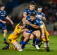 8th November 2019; AJ Bell Stadium, Salford, Lancashire, England; English Premiership Rugby, Sale Sharks versus Coventry Wasps; Rohan Janse van Rensburg of Sale Sharks is tackled - Editorial Use