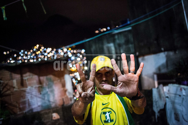 Rio de Janeiro, Brasil,  jul 2014.Nei Ferreiro after the match where Brazil los 7 to 1 agains Germany inside the favela Rocinha.Rocinha is the largest favela in Brazil.