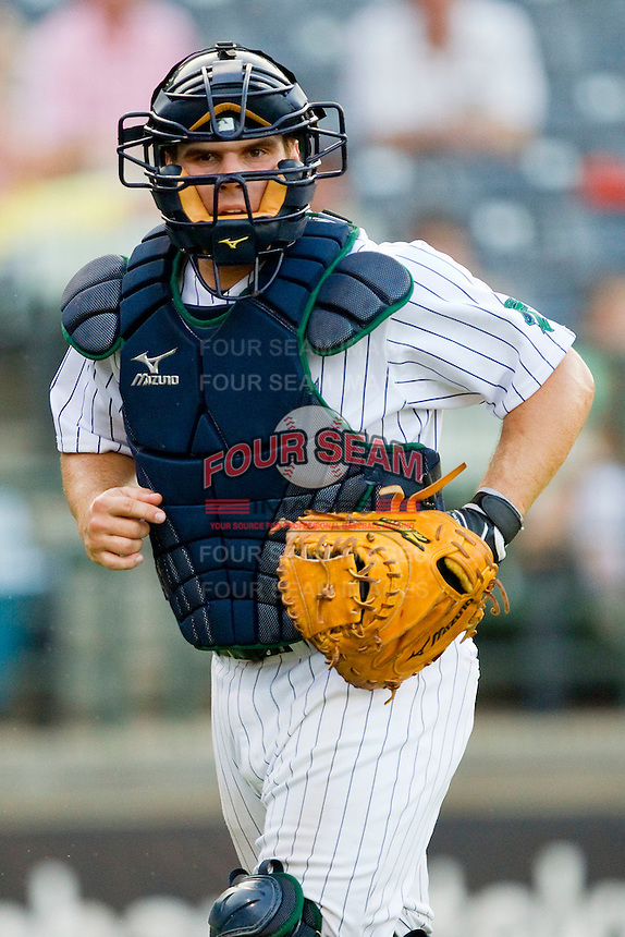 Catcher Josh Phegley #2 of the Charlotte Knights during the game against the Indianapolis Indians at Knights Stadium on July 26, 2011 in Fort Mill, South Carolina.  The Knights defeated the Indians 5-4.   (Brian Westerholt / Four Seam Images)