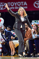 College Park, MD - NOV 16, 2016: Maryland Terrapins head coach Brenda Frese calls a play from the sideline during game between Maryland and Maryland Eastern Shore Lady Hawks at XFINITY Center in College Park, MD. The Terps defeated the Lady Hawks 106-61. (Photo by Phil Peters/Media Images International)