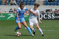 Bridgeview, IL - Saturday April 22, 2017: Sofia Huerta, Becca Moros during a regular season National Women's Soccer League (NWSL) match between the Chicago Red Stars and FC Kansas City at Toyota Park.