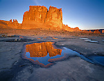 Arches National Park, UT<br /> Morning sun on The Organ with reflection in vernal pool