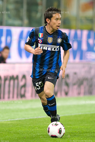 Yuto Nagatomo (Inter), APRIL 16, 2011 - Football : Italian Serie A 2010-2011, match between  Parma F.C. 2-0  F.C. Internazionale Milano at Tardini Stadium, Parma, Italy, (Photo by Enrico Calderoni/AFLO SPORT) [0391]