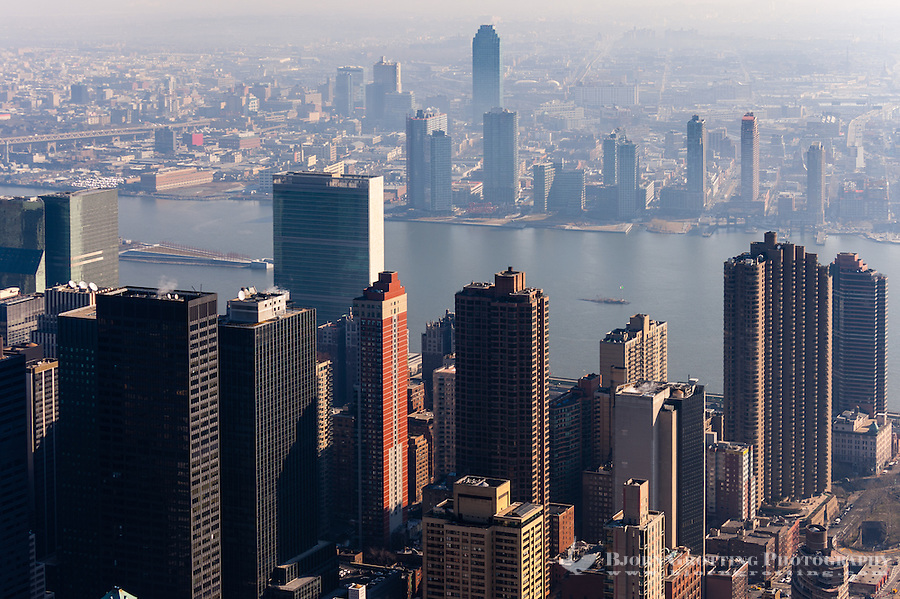 US, New York City. View from the Empire State Building observation deck. United Nations Headquarters.