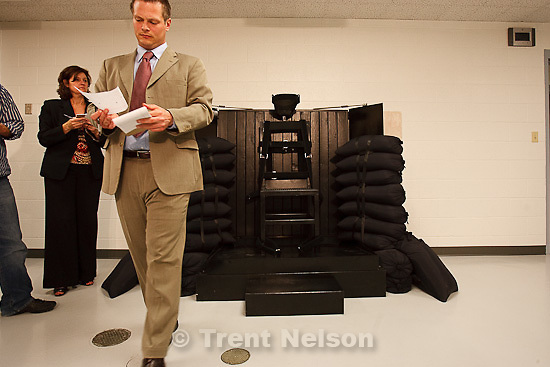 Trent Nelson  |  The Salt Lake Tribune.Draper - The execution chamber at the Utah State Prison after Ronnie Lee Gardner was executed by firing squad Friday, June 18, 2010. Four bullet holes are visible in the wood panel behind the chair. Gardner was convicted of aggravated murder, a capital felony, in 1985. nate carlisle, jennifer dobner