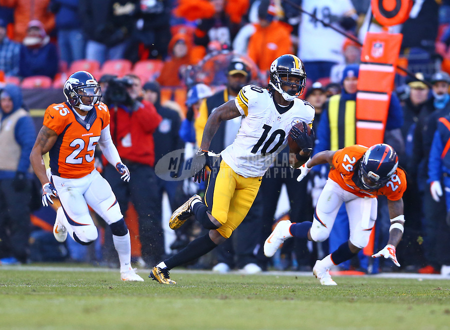 Jan 17, 2016; Denver, CO, USA; Pittsburgh Steelers wide receiver Martavis Bryant (10) (10) against the Denver Broncos during the AFC Divisional round playoff game at Sports Authority Field at Mile High. Mandatory Credit: Mark J. Rebilas-USA TODAY Sports