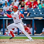 26 February 2019: Washington Nationals infielder Luis Garcia at bat during a Spring Training game against the St. Louis Cardinals at the Ballpark of the Palm Beaches in West Palm Beach, Florida. The Nationals fell to the visiting Cardinals 6-1 in Grapefruit League play. Mandatory Credit: Ed Wolfstein Photo *** RAW (NEF) Image File Available ***