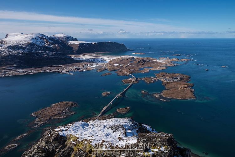 View over Fredvang bridges from summit of Volandstind, Flakstadøy, Lofoten Islands, Norway