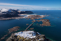 View over Fredvang bridges from summit of Volandstind, Flakstadøy, Lofoten Islands, Norway