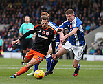 Billy Sharp of Sheffield Utd surges past Dion Donohue of Chesterfield during the English League One match at the Proact Stadium, Chesterfield. Picture date: November 13th, 2016. Pic Simon Bellis/Sportimage