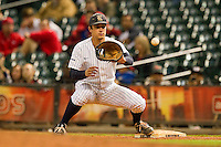 Rice Owls first baseman J.T. Chargois #14 waits for a throw during the game against the Texas Tech Red Raiders at Minute Maid Park on March 3, 2012 in Houston, Texas.  The Owls defeated the Red Raiders 6-2.  Brian Westerholt / Four Seam Images