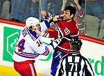 23 January 2010: New York Rangers' left wing forward Aaron Voros and Montreal Canadiens defenseman Ryan O'Byrne get into a fight during the third period at the Bell Centre in Montreal, Quebec, Canada. The Canadiens shut out the Rangers 6-0. Mandatory Credit: Ed Wolfstein Photo
