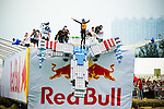 Competitors and their flying machines in action during the first Red Bull FlugTag event in Asia, Hong Kong October 2010.