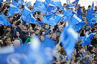 Leinster fans enjoying the atmosphere during the Amlin Challenge Cup Final between Leinster Rugby and Stade Francais at the RDS Arena, Dublin on Friday 17th May 2013 (Photo by Rob Munro).