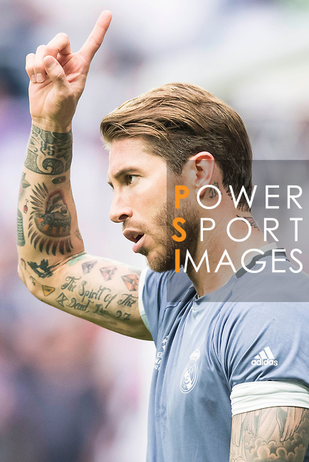 Sergio Ramos of Real Madrid in training prior to the 2016-17 UEFA Champions League Semifinals 1st leg match between Real Madrid and Atletico de Madrid at the Estadio Santiago Bernabeu on 02 May 2017 in Madrid, Spain. Photo by Diego Gonzalez Souto / Power Sport Images