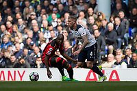 Toby Alderweireld of Tottenham Hotspur gets away from Benik Afobe of Bournemouth during the Premier League match between Tottenham Hotspur and Bournemouth at White Hart Lane, London, England on 15 April 2017. Photo by Mark  Hawkins / PRiME Media Images.