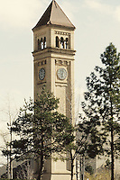 The Spokane clock tower at River Front Park in Spokane, Washington.