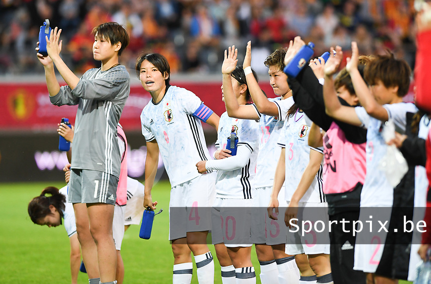 20170613 - LEUVEN ,  BELGIUM : Japanese team pictured thanking their fans for the support after the friendly female soccer game between the Belgian Red Flames and JAPAN , a friendly game in the preparation for the European Championship in The Netherlands 2017  , Tuesday 13 th June 2017 at Stadion Den Dreef  in Leuven , Belgium. PHOTO SPORTPIX.BE | DAVID CATRY