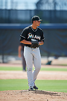 GCL Marlins relief pitcher Joe Strzelecki (35) gets ready to deliver a pitch during a game against the GCL Astros on August 5, 2018 at FITTEAM Ballpark of the Palm Beaches in West Palm Beach, Florida.  GCL Astros defeated GCL Marlins 2-1.  (Mike Janes/Four Seam Images)