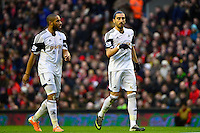 Sunday, 23 February 2014<br /> Pictured: Swansea City's Ashley Williams and Chico Flores<br /> Re: Barclay's Premier League, Liverpool FC v Swansea City FC v at Anfield Stadium, Liverpool Merseyside, UK.