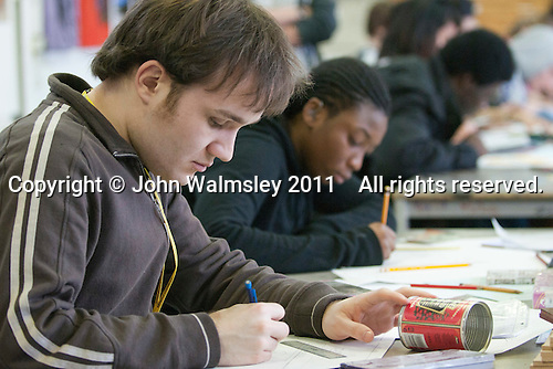 A student with autism working on his designs, Art & Design, Kingston College.