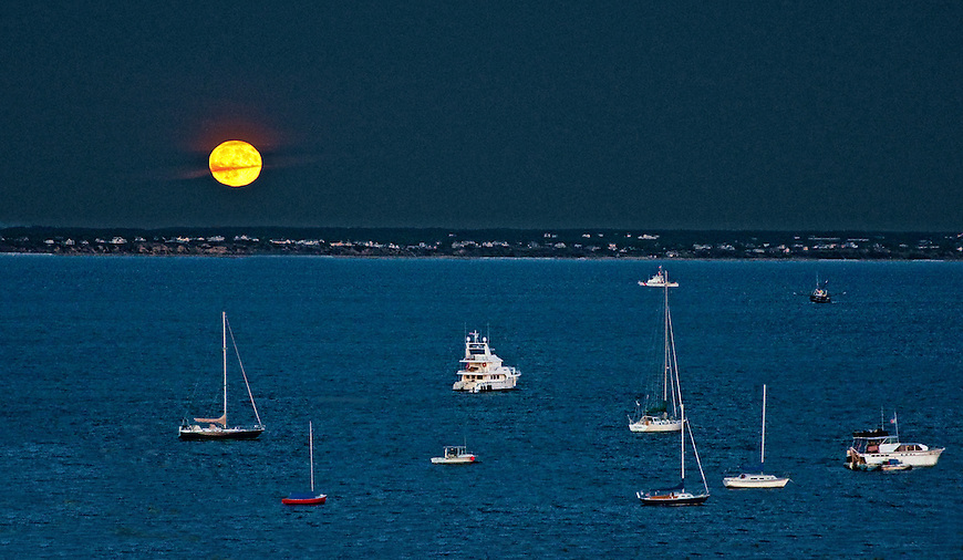 Moonrise at Cape Cod, Provincetown moonrise, Harvest moon