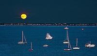 Moonrise at Cape Cod, Provincetown moonrise, Harvest moon
