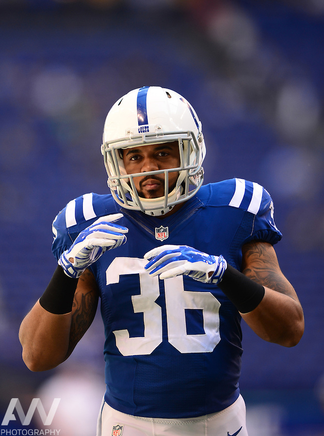 Sep 28, 2014; Indianapolis, IN, USA; Indianapolis Colts running back Dan Herron (36) against the Tennessee Titans at Lucas Oil Stadium. Mandatory Credit: Andrew Weber-USA TODAY Sports