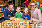 Anluan Dunne, Arthur and Iseult Brick Dunne and Grainne Brick enjoying the National Library Open Day at the Tralee Library on Saturday.