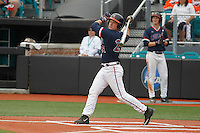 University of Virginia Cavaliers catcher Matt Thaiss (21) at bat during a game against the University of Coastal Carolina Chanticleers at Springs Brooks Stadium on February 21, 2016 in Conway, South Carolina. Coastal Carolina defeated Virginia 5-4. (Robert Gurganus/Four Seam Images)
