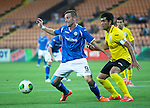 Alashkert FC v St Johnstone...02.07.15   Republican Stadium, Yerevan, Armenia....UEFA Europa League Qualifier.<br /> Steven MacLean holds off Vahagn Minasyan<br /> Picture by Graeme Hart.<br /> Copyright Perthshire Picture Agency<br /> Tel: 01738 623350  Mobile: 07990 594431