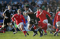 New Zealand loose head Rodney Ah You drives play forward during the Division A clash against Wales at Ravenhill. Result New Zealand 37 Wales 14.