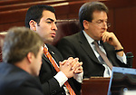 Nevada Sen. Ruben Kihuen, D-Las Vegas, works in committee on Friday, April 22, 2011, at the Legislature in Carson City, Nev. Also seen are Sen. Greg Brower, R-Reno, left, and Lt. Gov. Brian Krolicki..Photo by Cathleen Allison