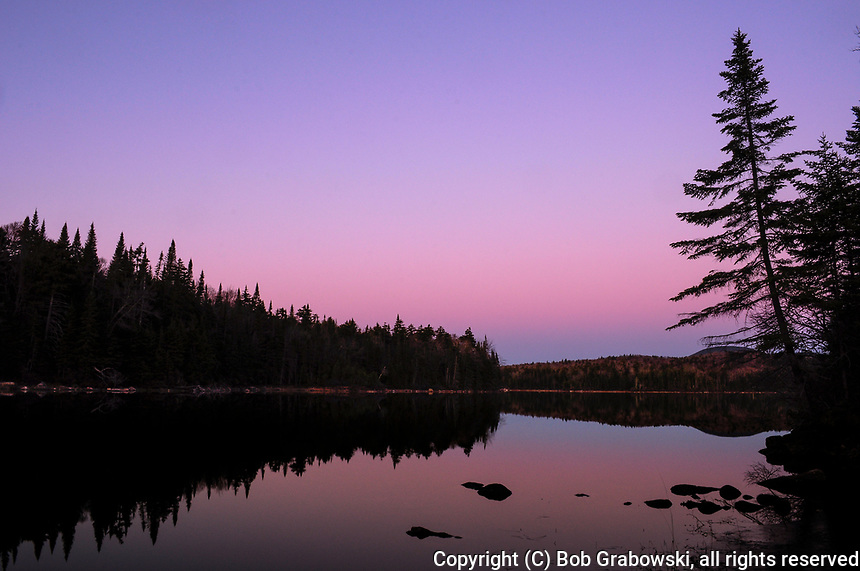 Last Light Over Cedar Lake In the Adirondack Mountains Of New York State
