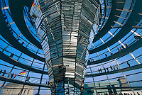 Tourists and Berliners alike visit the new dome atop the Reichstag (German Parliament) by Sir Norman Foster.