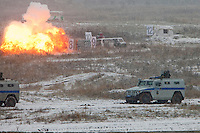 Krasnoarmeysk, Moscow Region, Russia, 29/10/2010..A bunker explodes after being hit by a grenade during Russian special forces training at a military base outside Moscow. The exercise was part of the Interpolitex 2010 state security exhibition.