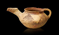 Early Minoan rounded teapot with typical brownish red painted bhatched lines,  Hagios Onouphrios 2900-1900 BC BC, Heraklion Archaeological  Museum, black background.