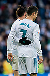 Cristiano Ronaldo of Real Madrid celebrates with teammate Gareth Bale during the La Liga 2017-18 match between Real Madrid and RC Deportivo La Coruna at Santiago Bernabeu Stadium on January 21 2018 in Madrid, Spain. Photo by Diego Gonzalez / Power Sport Images