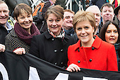 London, UK. 27 February 2016. L-R: Caroline Lucas MP, The Green Party, Leanne Wood MP, leader of Plaid Cymru and Nicola Sturgeon, First Minister of Scotland and the leader of the Scottish National Party. Anti-Trident Rally in Trafalgar Square.